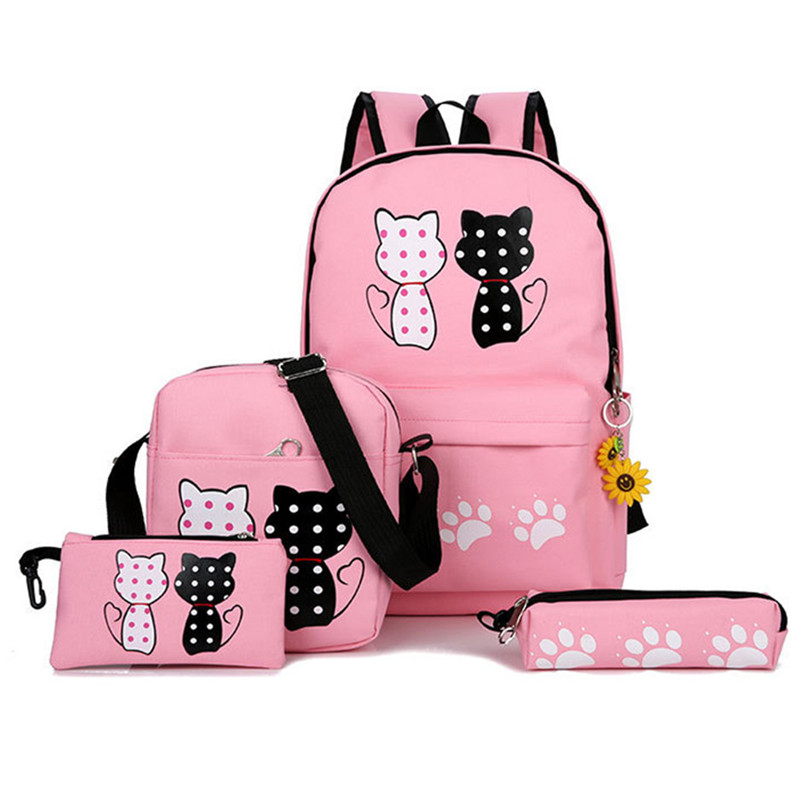 2019 New Fashion Canvas Backpack Schoolbags Set For Girls Teenagers Casual Children Travel Bags Rucksack Cute Cat Printing