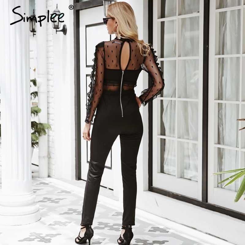 Simplee сексуальный кружевной женский комбинезон, черный сетчатый комбинезон с длинным рукавом, 2018, элегантный летний комбинезон, комбинезоны, Повседневная Уличная одежда