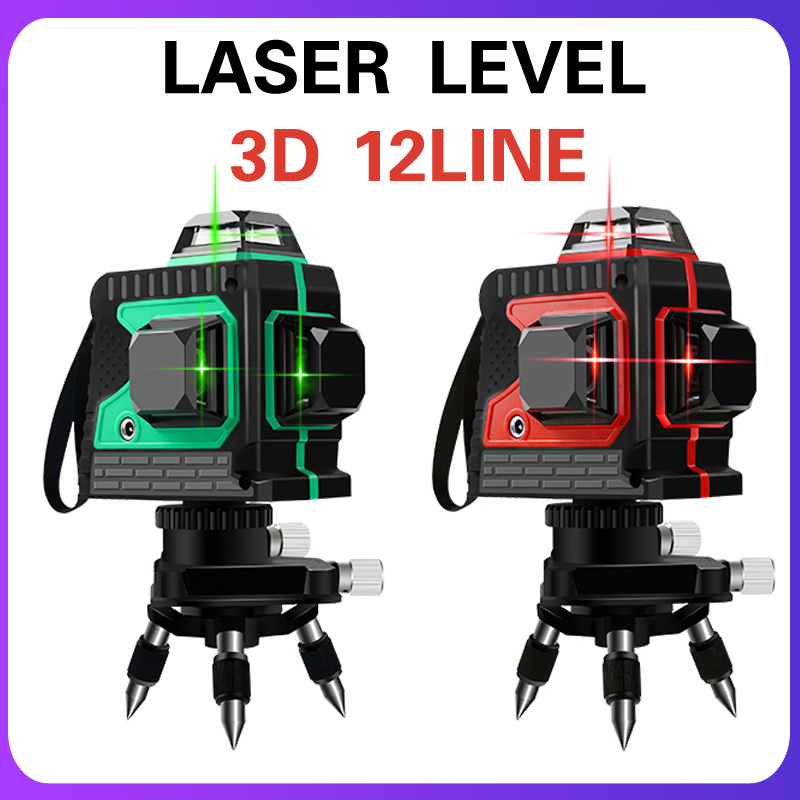 12 Lines 3D Green Laser Levels Self-Leveling 360  Rotary Vertical Horizontal Line Laser Level