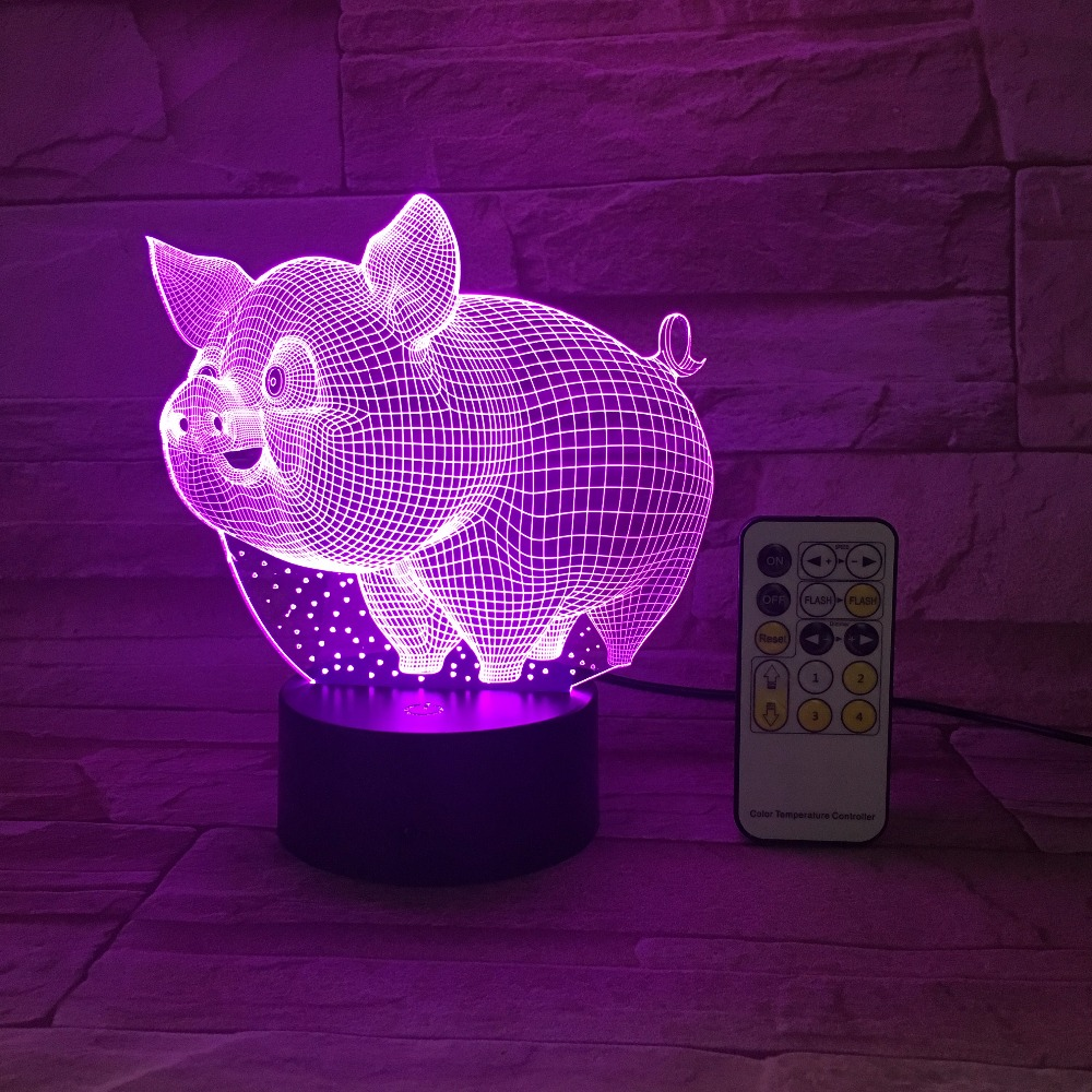 Pig 3D LED Night Light Remote Or Touch Control Colorful 5V USB Creative Small Acrylic Led Table Lamp Self Gifting Home Deco Gift