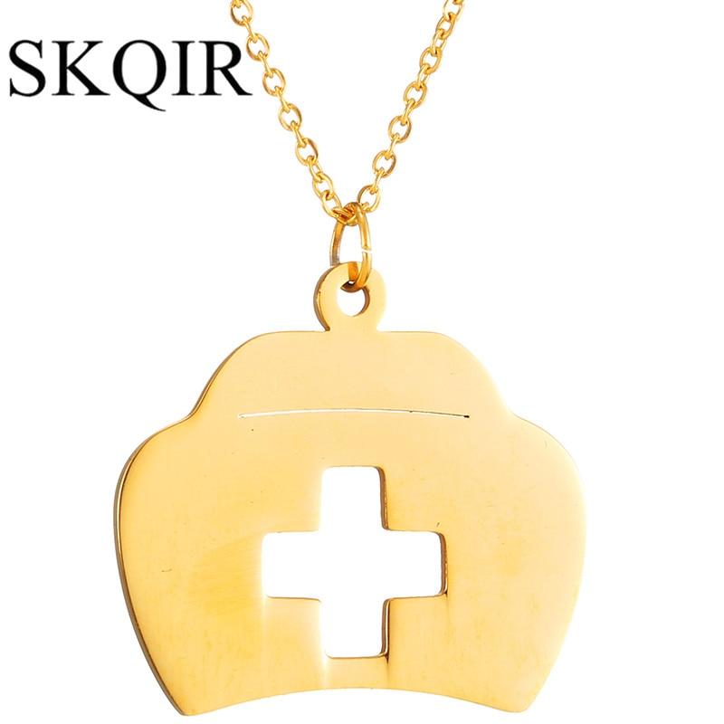 Skqir золотой крест кулон Цепочки и ожерелья Медицины Box Сеть себе Ожерелья для мужчин для Для Женщин больницы аптечка Joyas ювелирные изделия