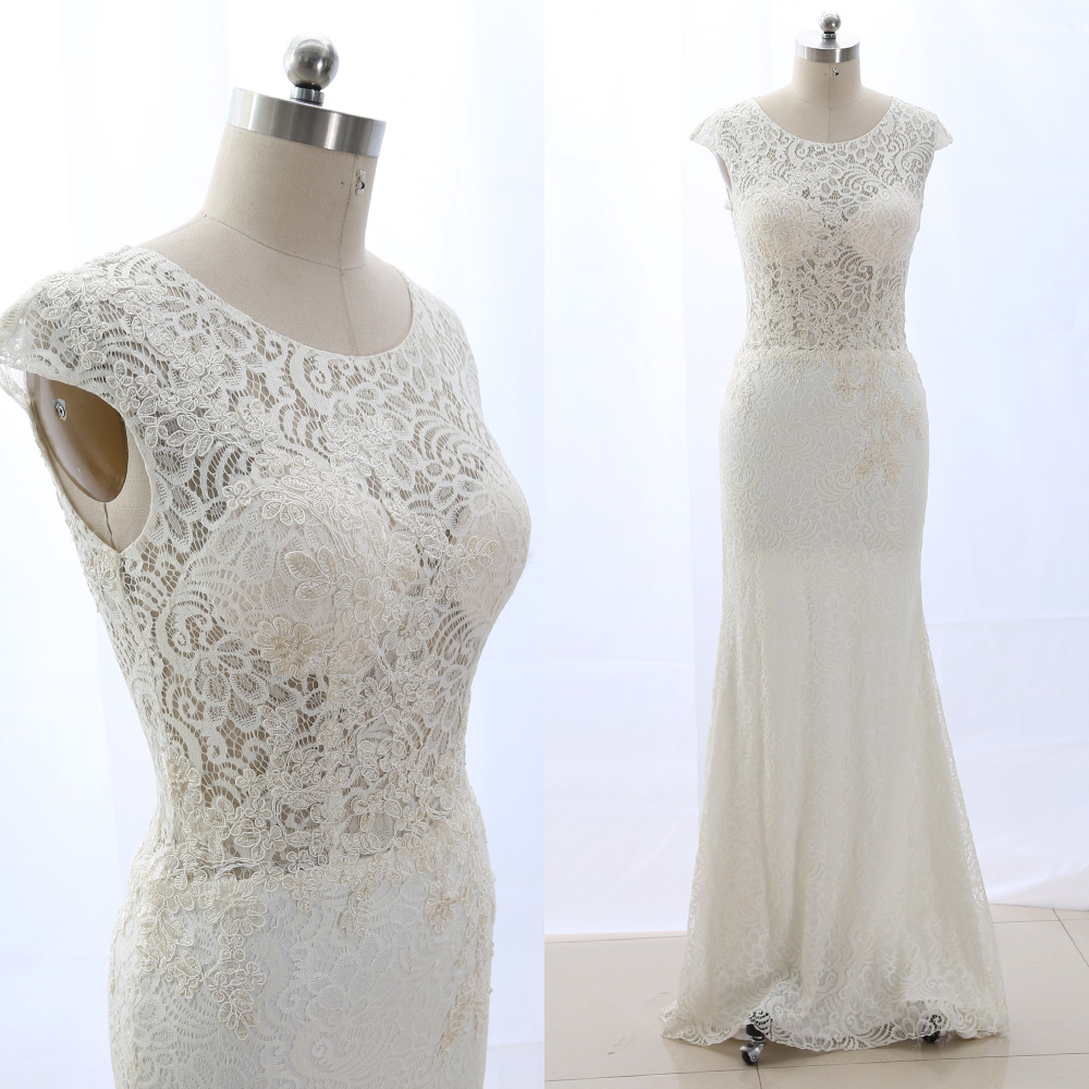 MACloth Ivory A-Line Scoop Neck Floor-Length Long Embroidery Lace   Prom     Dresses     Dress   L 265430 Clearance