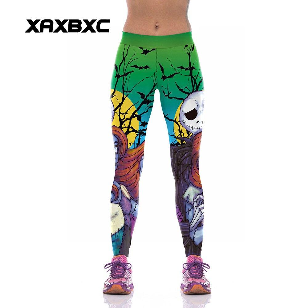 XAXBXC W1003 Sexy Girl GYM Sport Yoga Pants Halloween Nightmare Skull Jack Sally Prints High Waist Jogger Fitness Women Leggings