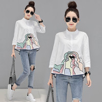 Spring Summer Fashion Blouse Women Causal Abstract Colorful Embroidery Stand Collar White Blouse Plus Size Blousa NS83