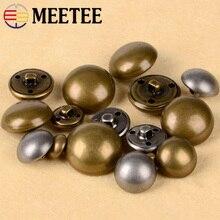Meetee 30pcs 15-28mm Vintage Copper Metal Mushroom Shank Buttons DIY Coat Jacket Shirt Decor Buckle Sewing Material Accessories