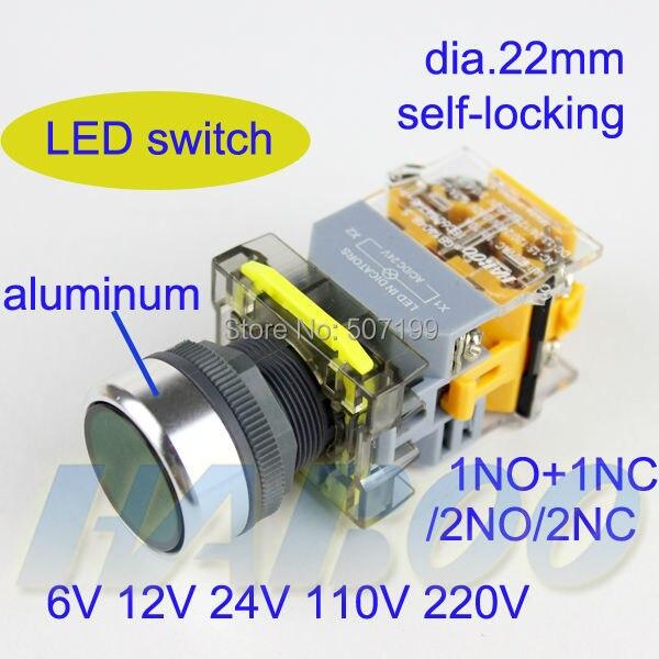 5pcs/lot dia.22mm round head lock switch on-off led switch various color 6V 12V 24V 110V 220V