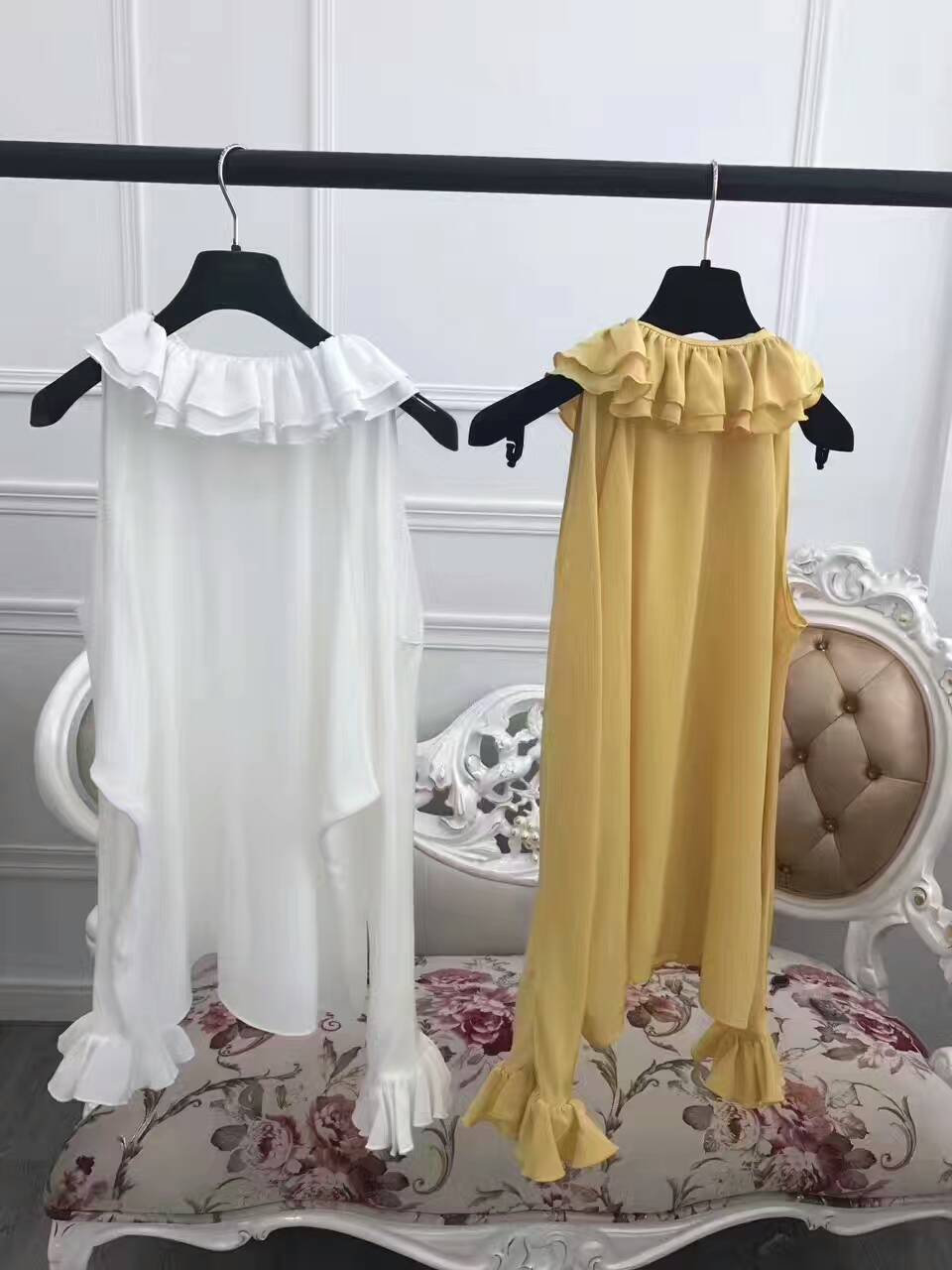 L ErntespitzeSchulterfrei MujerWeiGelb Sexy Reffles ssige BluseErstaunliches 100Seidenmode Design WeiBlusas HemdenEinzigartige 5L4Rqcj3A