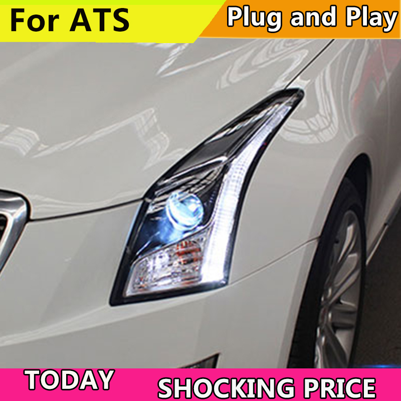 Car Styling For Cadillac ATS headlights For ATS LED head lamp led front light Bi-Xenon Lens xenon HID car styling for cadillac ats headlights for ats led head lamp led front light bi xenon lens xenon hid