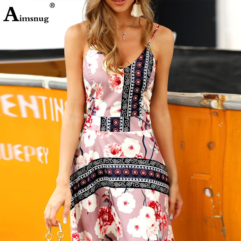 Aimsnug Spaghetti Strap Vintage Vestidos Women Dress Sexy V neck Sleeveless Cami Short Dress Summer Casual Flower Print Dresses in Dresses from Women 39 s Clothing