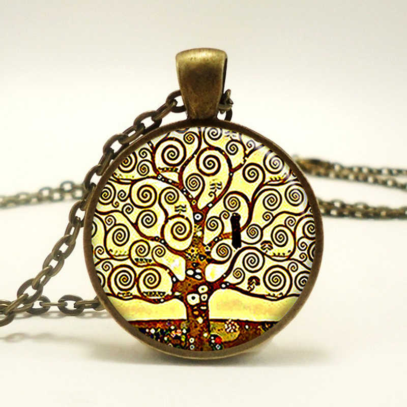 Gustav Klimt Symbolic Tree of Life Pendant Necklace Glass Cabochon Art Picture Woman Fashion Jewelry Vintage Handmade Gift Retro