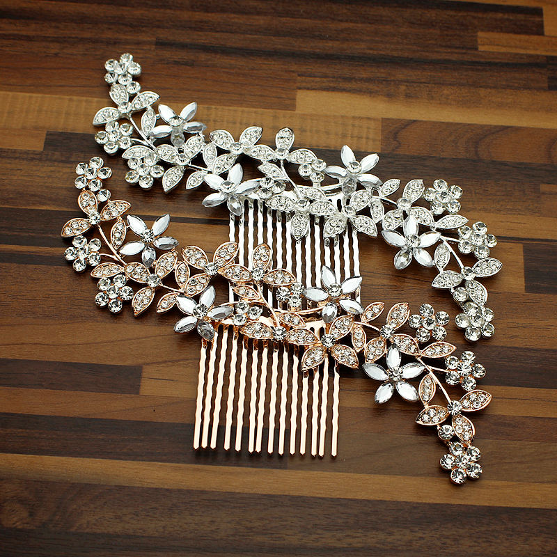 Comb-Clip Headdress Pageant Jewelry Crystal Leaf Wedding-Hair Bride Rose-Gold Floral