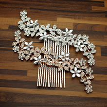 Large Fashion Rose Gold Leaf Women Wedding Hair Comb Clip Silver Crystal Bridesmaid Floral Headdress For Bride Pageant Jewelry