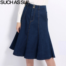 SUCH AS SU New Korean Denim Skirt 2017 Fashion Blue Slim High Waist Mid Long A-Line Skirt Size S-XXXL Women Jean Skirt