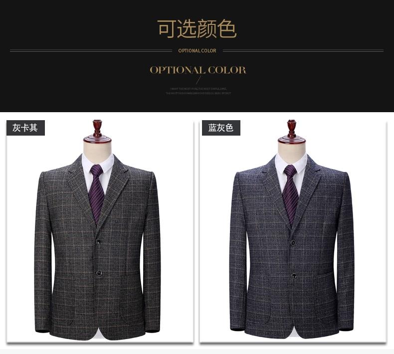 WAEOLSA Men Plaid Blazers Gray Jacket Suit Man Spring Autumn Outfits Plus Size Blazer Male Jacket Suit 2 Buttons Garment (5)