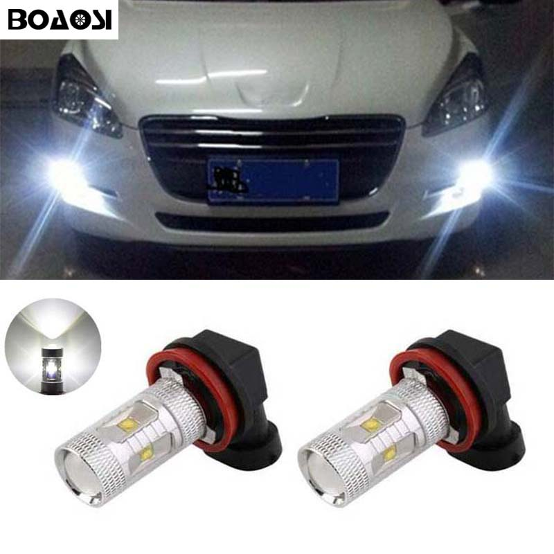 BOAOSI 2x H11 H8 Bulbs Reflector Mirror Design For Fog Lights For Peugeot 3008 2011-2013 Peugeot 301 2013-2014 Peugeot 407 2008 boaosi 2x 9006 hb4 led canbus 5630 33 smd bulbs reflector mirror design for fog lights for subaru wrx vs sti 2008 2013