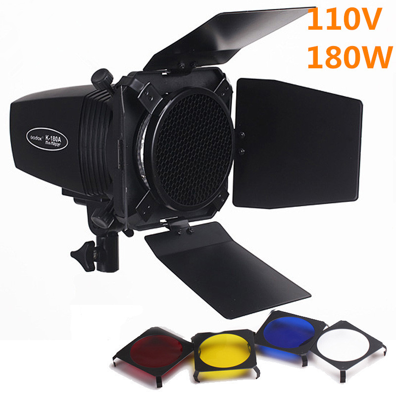 Godox K-180A Photo Studio Mini Strobe Monolight Lighting Kits 110v Flash Light+Light Barn Door & Honeycomb Grid & Gel PSK180D1 hik origina ds 2cd2642fwd is 4mp wdr 2 7 12mm vari focal lens network hd bullet poe cctv camera