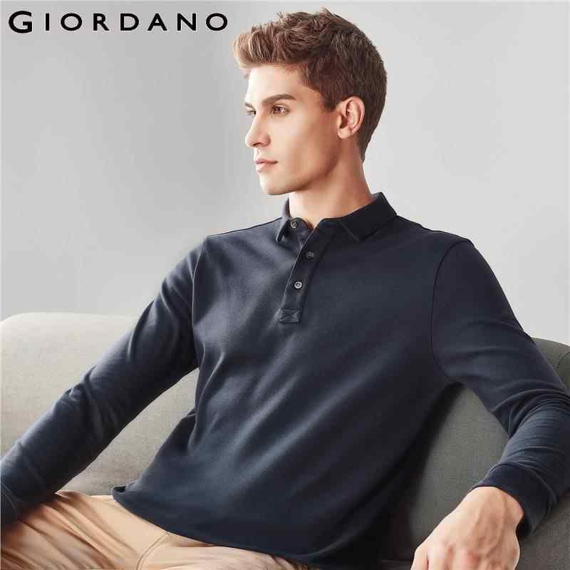 Giordano Men Polo Shirt Men Solid Slim Long Sleeve Polo Shirt Men Pique Cotton Turn down Collar Polo Homme Camisa Polo