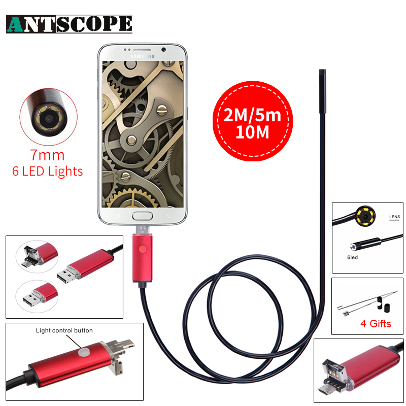 Endoscope 7MM 2M 5M 10M USB Android Endoscope Camera IP67 Waterproof Android Endoscopic Borescope USB Endoskop Inspection Camera 7mm lens mini usb android endoscope camera waterproof snake tube 2m inspection micro usb borescope android phone endoskop camera