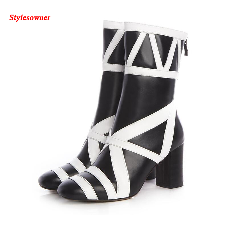 Stylesowner Winter Fashion Women Boots Chunky Heel Squared Toe Mid-calf Boots Superb Colorful Explosion Style Folk Runway Botas double buckle cross straps mid calf boots