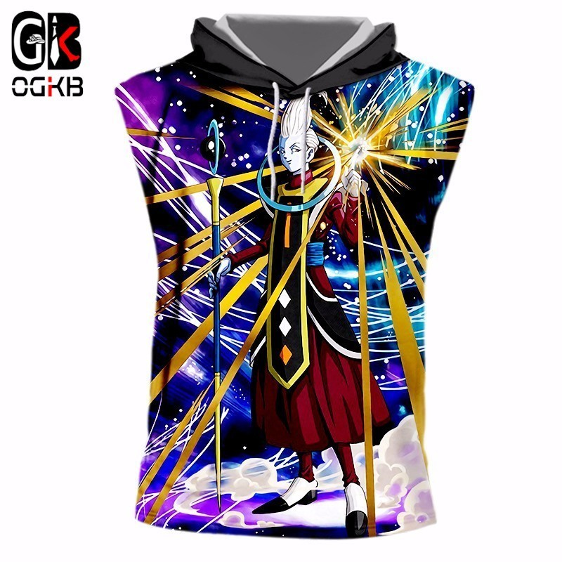 OGKB Man Fit Slim Fitness Casual Tank Top Mens Funny Print <font><b>Dragon</b></font> <font><b>Ball</b></font> 3d <font><b>Vest</b></font> With Cap New Summer Top Unisex Sleeveless Hoodie image