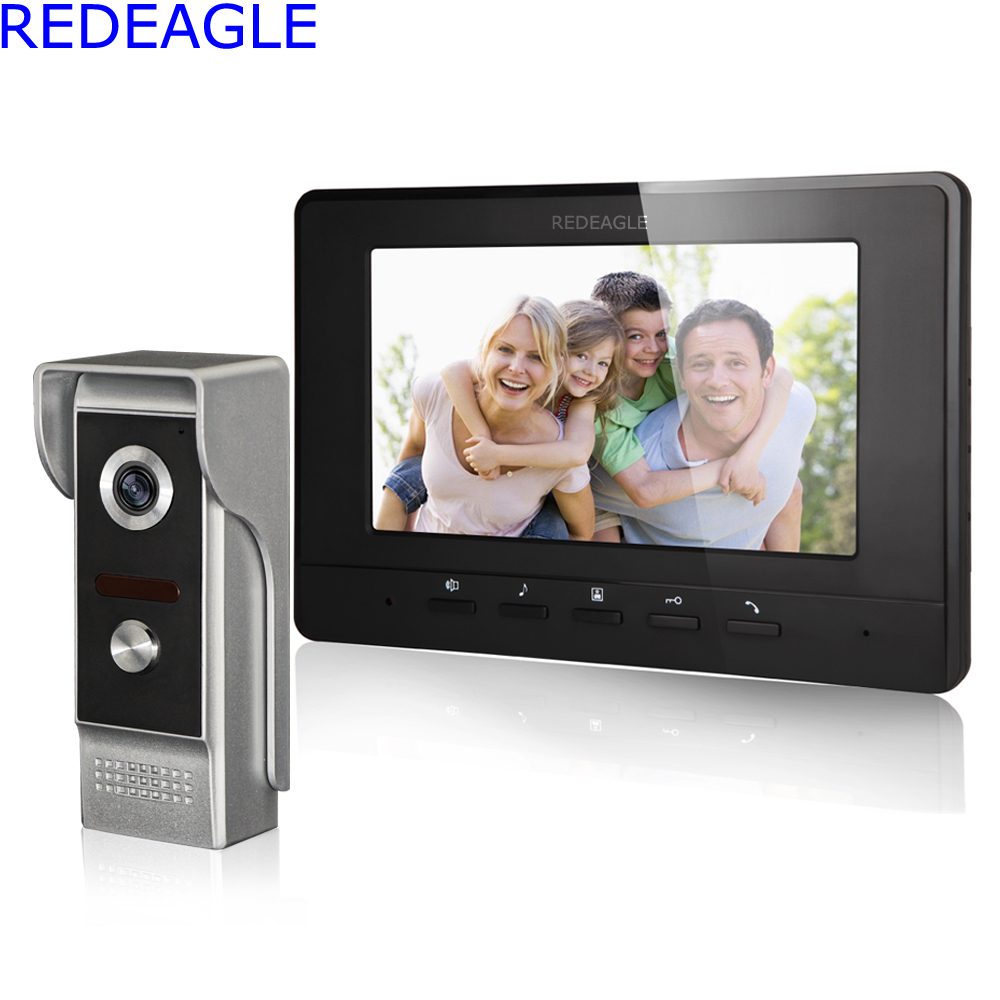 REDEAGLE Wired Color video intercom Door Phone Doorbell System Set with 7 inch LCD Monitor and 700TVL Metal Night Vision Camera 7 inch color tft lcd wired video door phone home doorbell intercom camera system with 1 camera 1 monitor support night vision