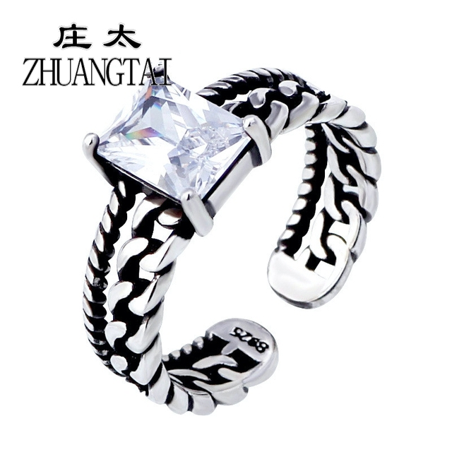 ZHUANGTAI Vintage Rings For Women White Red Black Cubic Zirconia Stone Crystal V