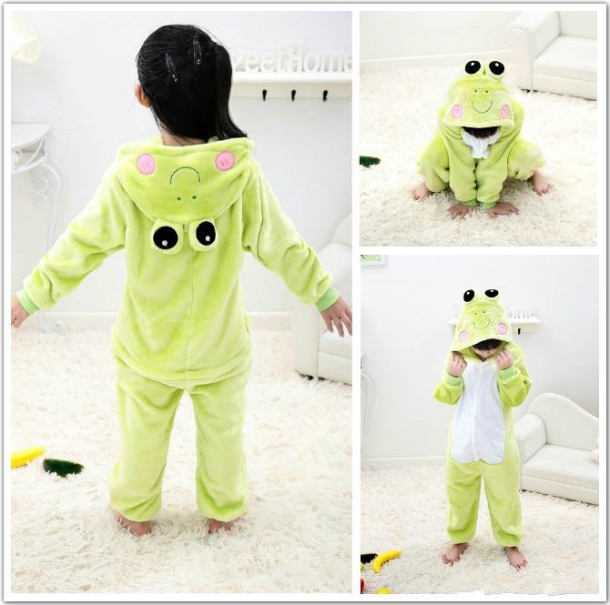 Home Chind Costume Green Frog Yellow Dog Pajama Cartoon Animal Kid Cosplay Winter Warm Fantasia Boy Girl Party Carnival Onesise