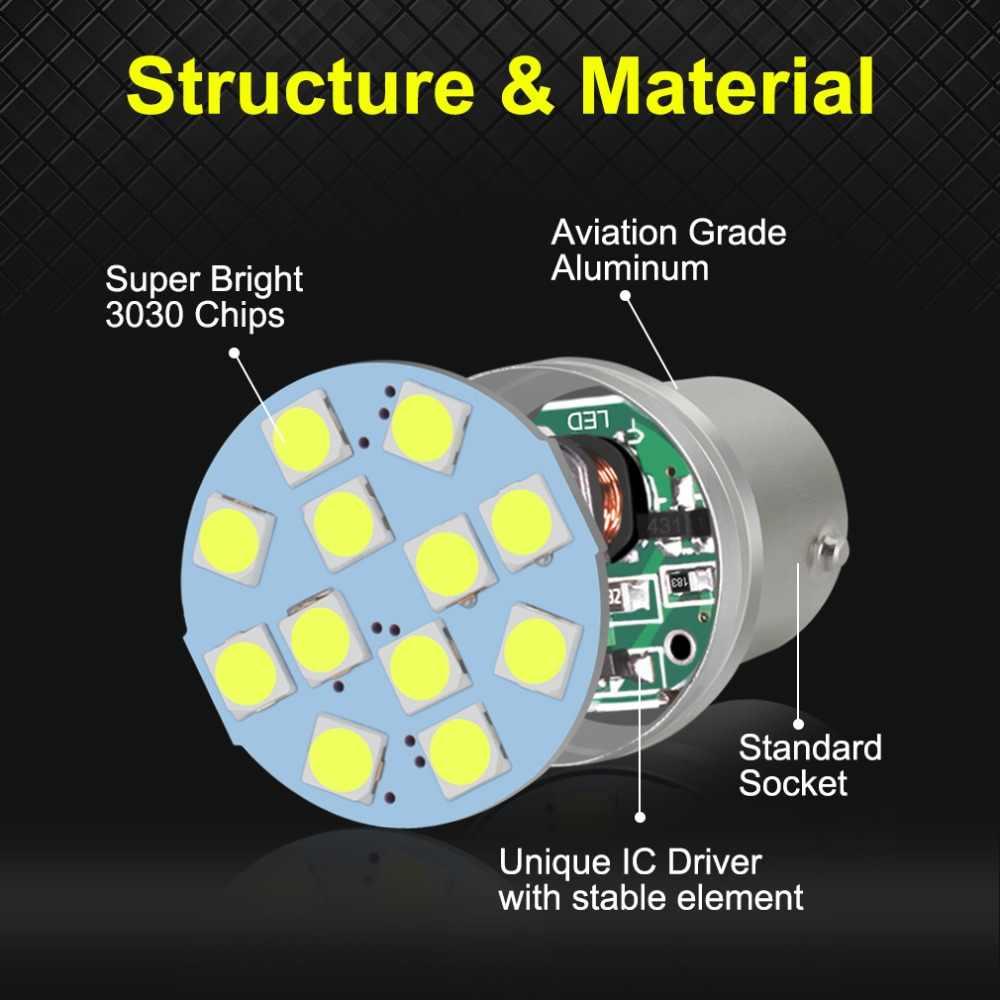 1pcs 1156 BA15S P21W BAU15S PY21W LED 1157 BAY15D P21/5 W BA15D 800LM 12SMD 3030 רכב הפעל אות הפוך אורות אוטומטי מנורת 12V