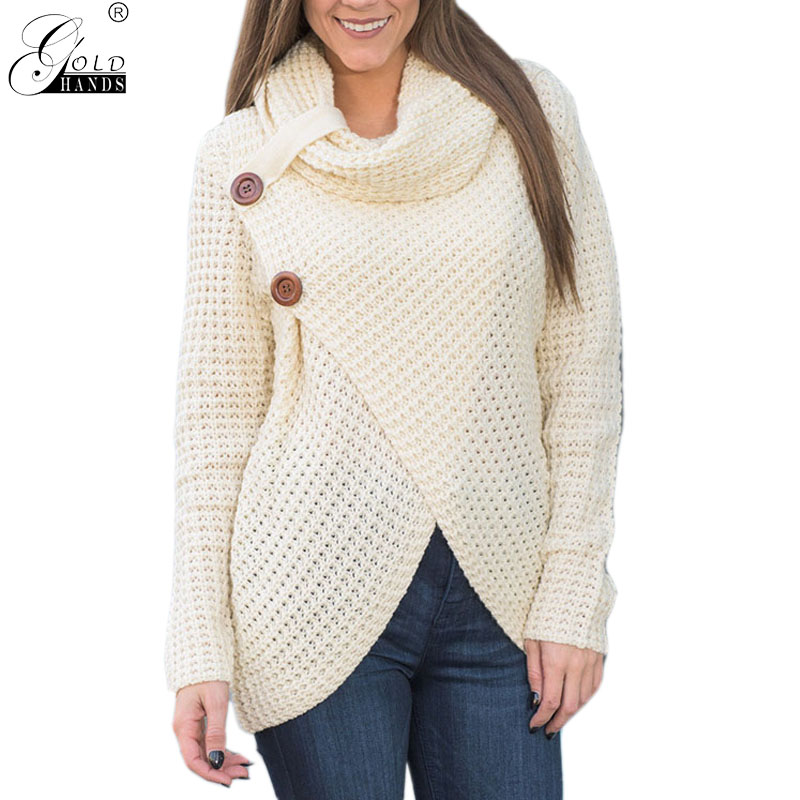 Gold Hands New Autumn And Winter Long Sleeve Pullovers Knitting Loose High Neck Split Sweater Female Button Winter Tops Free