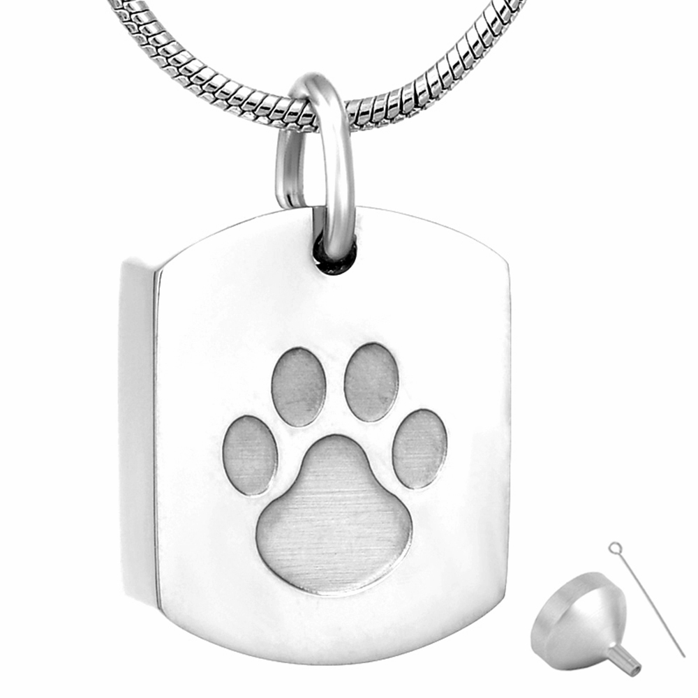 8003 Single Paw Print On Blank Dog Tags Cremation Jewelry Urn Pendant  Necklace Keppsake