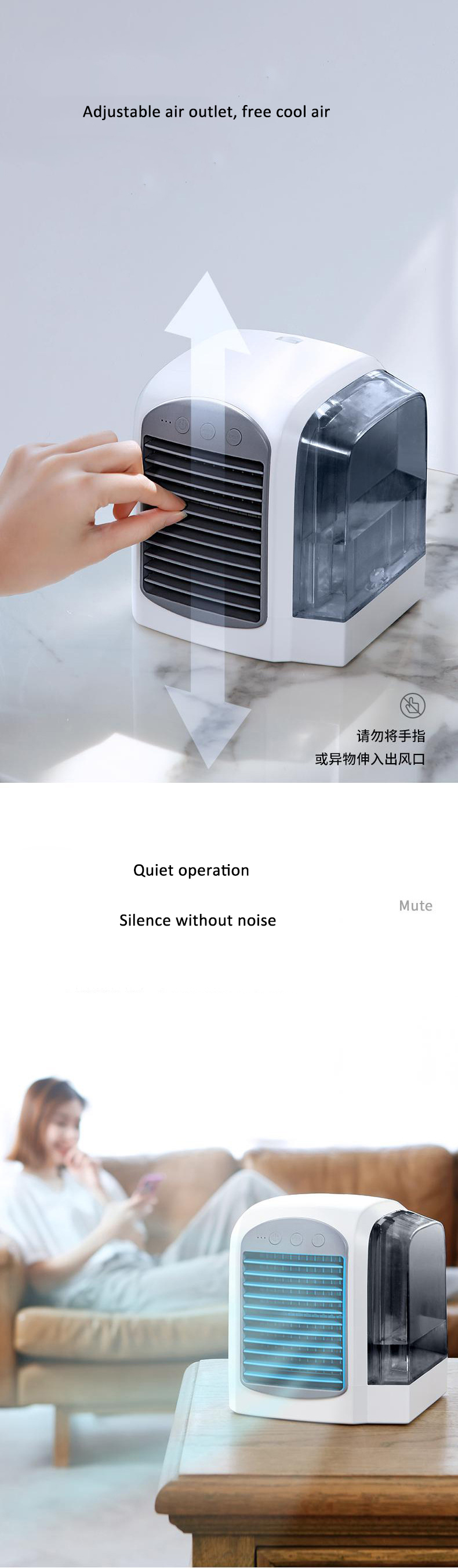Color : White Chihen Small Fan USB3 Speed Cooling Fan Mini Portable air Cooler Silent Electric Fan humidifier Spray Cooling Handheld