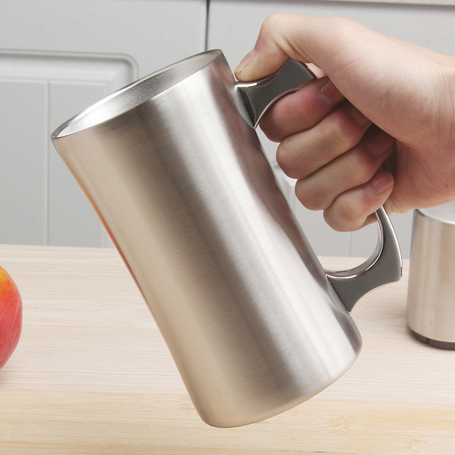 Mug isolant en acier inoxydable avec couvercle, grand Mug 20oz, chope isotherme, à Double paroi, gobelet avec poignée, chope à bière