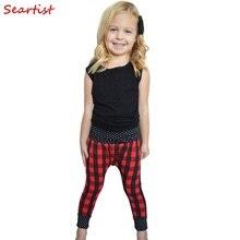 Baby Boys Girls Christmas Pants Girl Boy Red Plaid Harem Children Autumn Cotton Trousers 2017 New Arrival 20C
