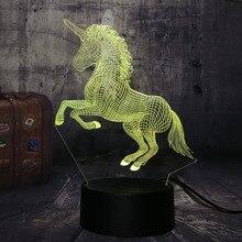 Nuevo hermoso unicornio 3D LED luz de noche lámpara de escritorio regalo romántico 7 colores cambiar habitación decoración Lustre vacaciones novia niños juguetes