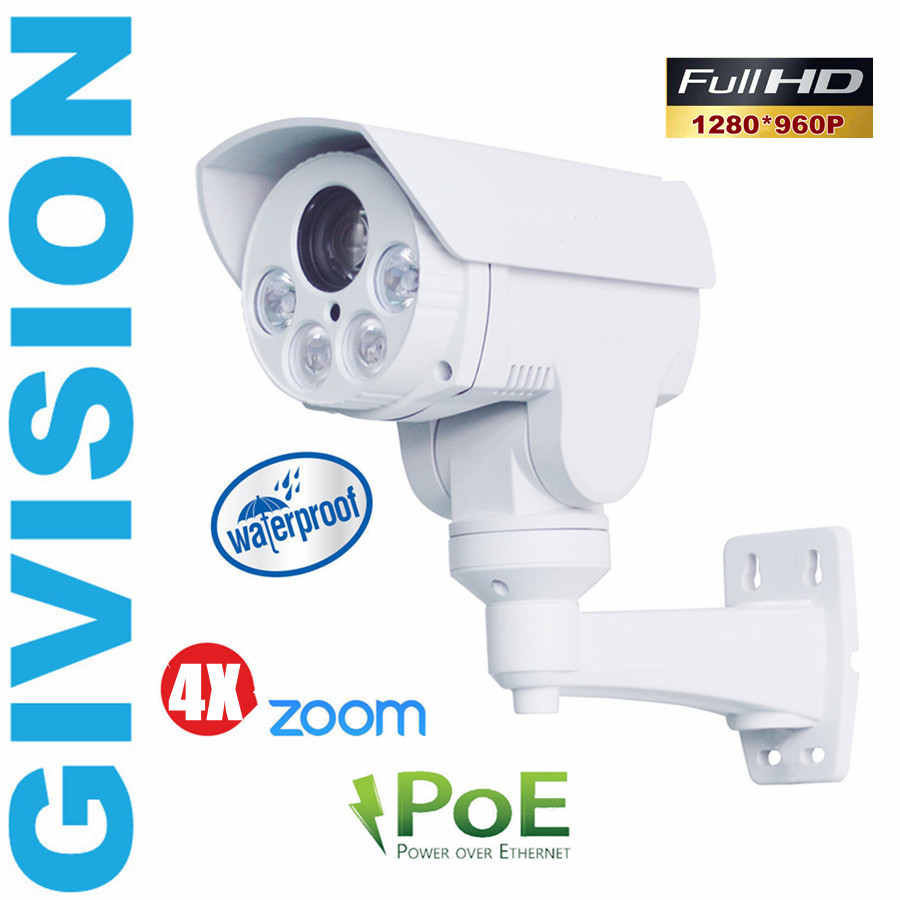 HD 1.3MP mini ptz ip camera POE 960p hd bullet cctv security outdoor waterproof pan tilt 4x auto zoom night vision camera onvif hd 1 3mp ip camera ptz bullet 4x zoom 960p hd project night vision outdoor waterproof ircut onvif p2p onvif poe hiseeu
