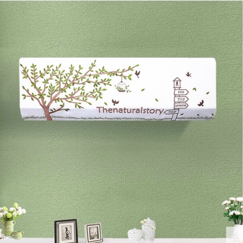 indoor 15p wall mounted air conditioner cover decoration hood embroidered pastoral 80x20 86x20 92x18cm tree birds - Air Conditioner Covers