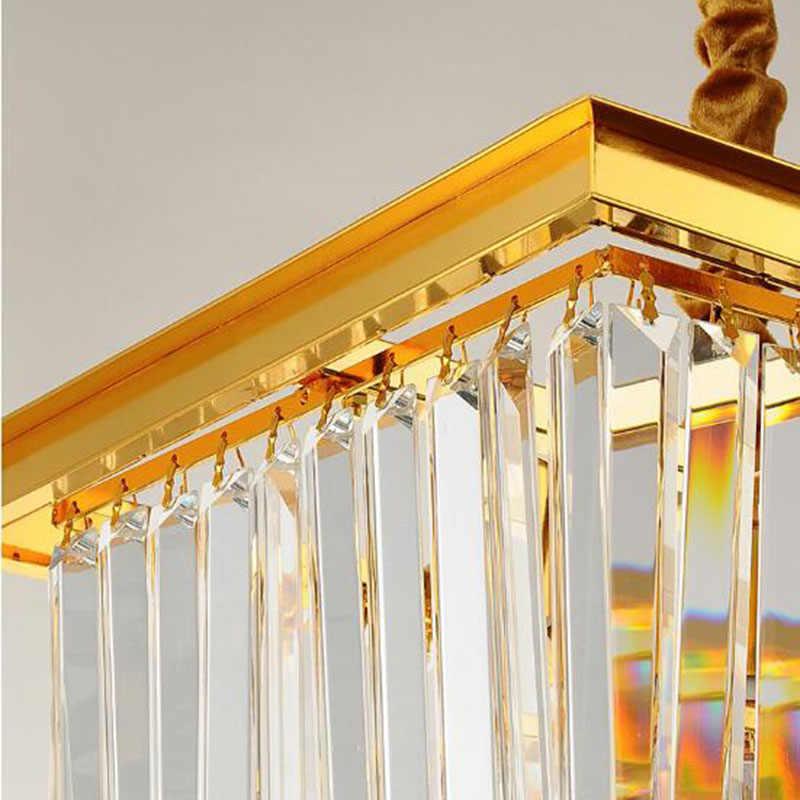 Прямоугольная Золотая люстра для столовой хрустальные люстры пост современные дизайнерские лампы бар хрустальная лампа для гостиной Светодиодная лампа