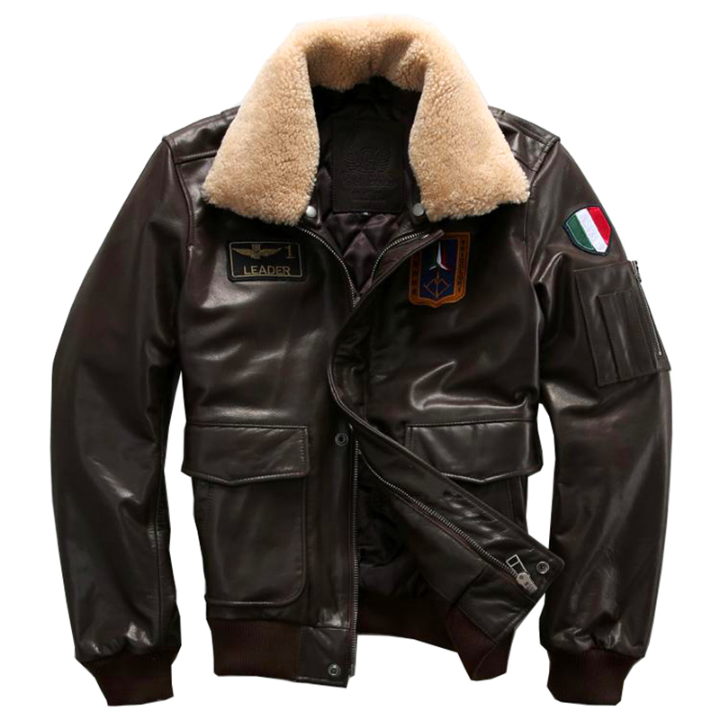 Genuine leather clothing mans cowhide leather flight A2 air force pilot jacket men's cow leather jacket