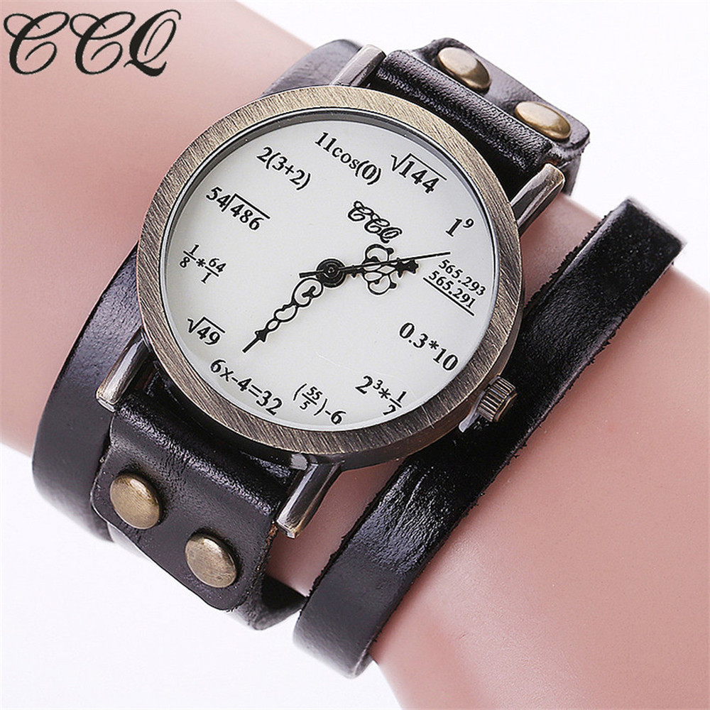 Brand Fashion Vintage Creative Leather Math Formula Equation Watch Casual Women Bracelet Quartz Watch Relogio Feminino