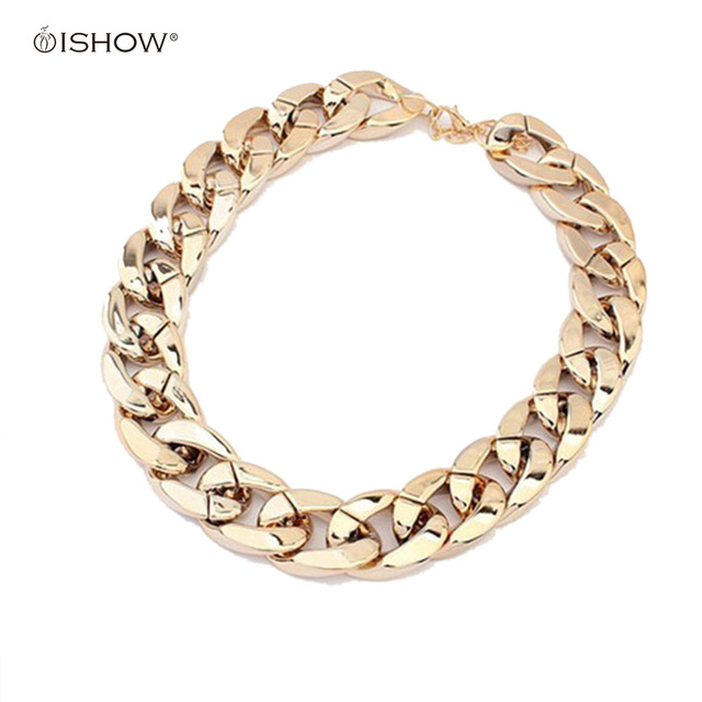 Gold Silver Gunblack Plated Thick CCB Chain Statement Choker Necklace for Women Party Gift Fashion Jewelry Colar Bijoux