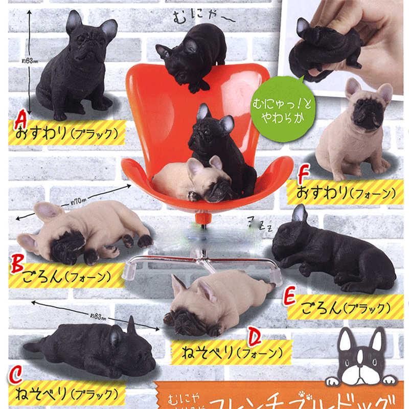Cápsula japonesa brinquedo engraçado bonito animal de estimação preguiçoso francês bulldog dormir ajoelhado macio espremer gashapon figuras collectibles crianças brinquedo