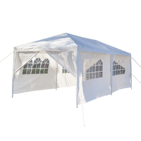 3 x 6m Two Doors Tent White Party Tent Wedding Tent Canopy Practical Durable Outdoor Heavy duty Gazebo Pavilion Events Tent