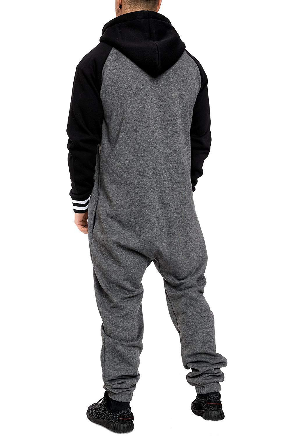 Casual Autumn Hooded Tracksuit Jumpsuit Long Pants Romper For Male Mens Fleece warm Overalls Sweatshirts Male Streetwear X9126 30