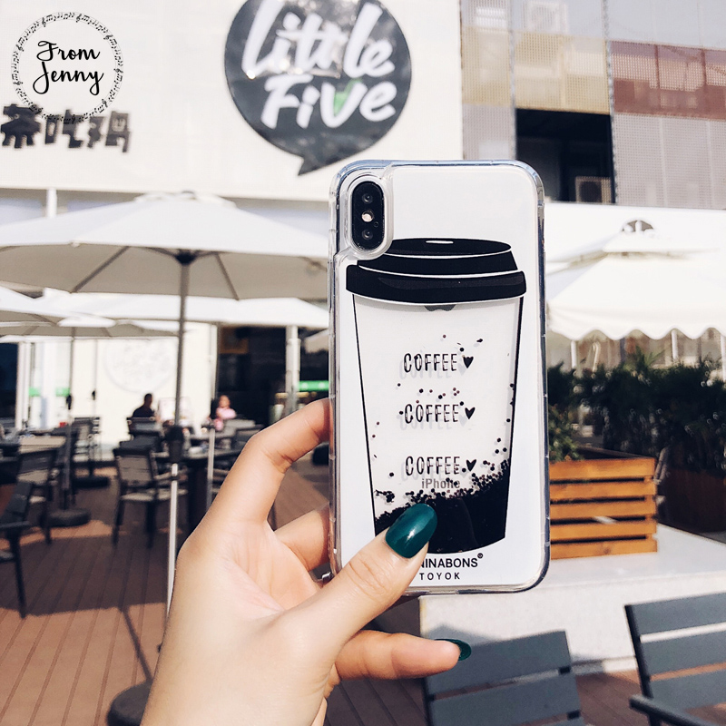From Jenny Hot New Liquid Quicksand Transparent Case for Apple iPhone6s 6 7 7plus 6s+ 6splus Capas Covers Coffee Cup Bottle Case