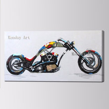 Large Handpainted Abstract Cartoon Oil Paintings Wall Art Handmade motorcycle Canvas Picture Modern picture painting Home Decor(China)