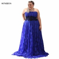 Royal Blue Mother Of The Bride Gowns For Plus Size Women A-line Strapless Long Lace Party Dress With Black Appliques CM006