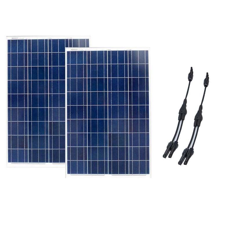Panneau Solaire 12v 100w 2Pcs/Lot Panneaux Solaire 24v 200W Solar Battery Charger Caravan camping Motorhome Solar Light System battery charger 100w