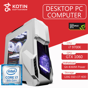 KOTIN Z2 Gaming PC Intel I7 9700 K GTX1060 6 GB GPU 120 GB SSD DA 1 TB HDD Gaming Desktop ASUS B360M 8 GB di RAM Del Computer PUBG 4 fan