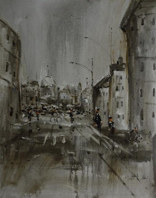 Peint à La Main Moderne Paysage Urbain Peinture à Lhuile Sur Toile