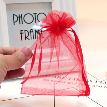 1000pcs/lot Red Organza Bags 9x12cm Small Wedding Favors Boutique Candy Gifts Packaging Bags Organza Drawstring Gift Bag Pouches